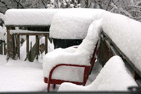 snow on back deck