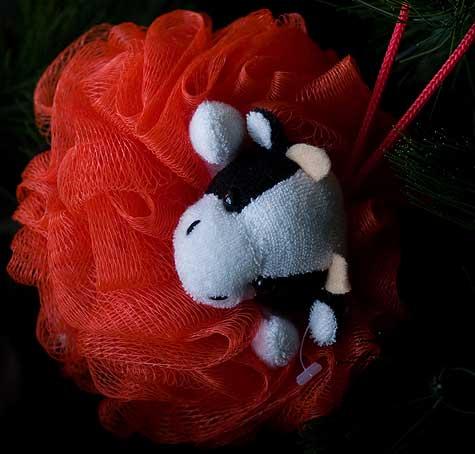 cow scrubby ornament