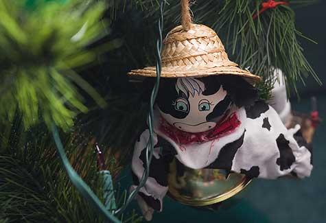farmer cow ornament