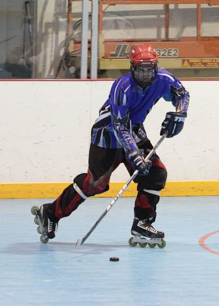 roller hockey action shot