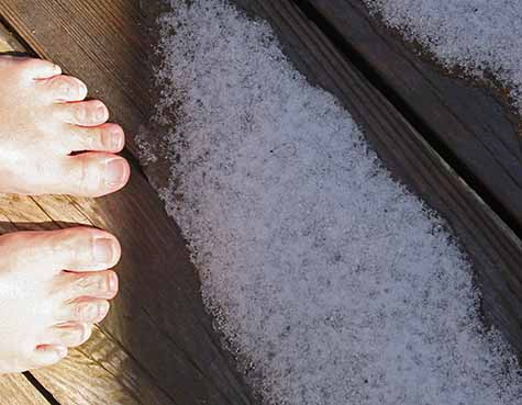 bare feet and snow