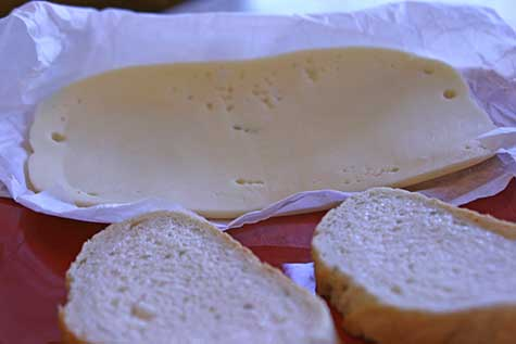 sour dough bread and baby swiss cheese