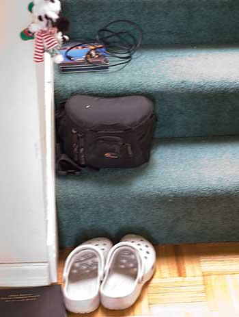 stuff on stairs