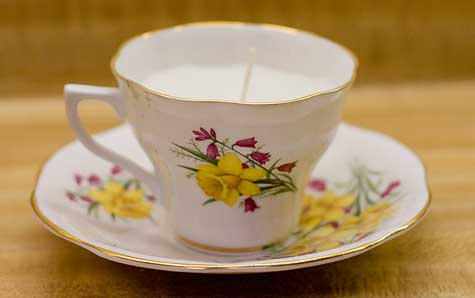 antique teacup candle
