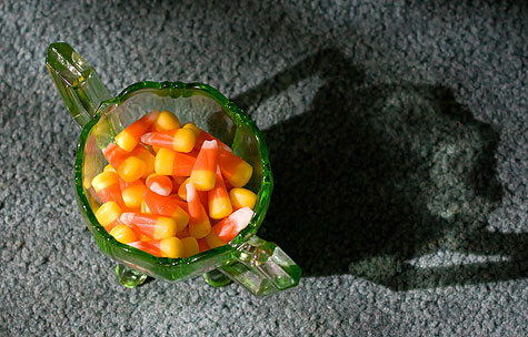candy corn in glass bowl
