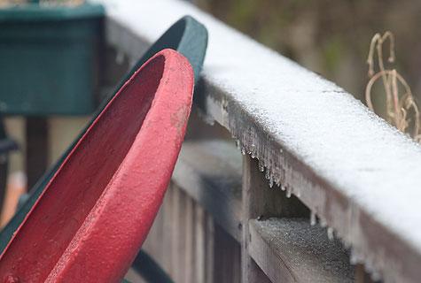 frozen porch railing