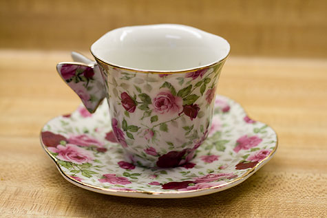 antique rose teacup