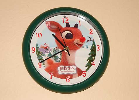 Rudolph the red nosed reindeer clock