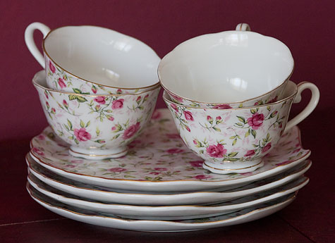 set of 4 antique teacups and saucers