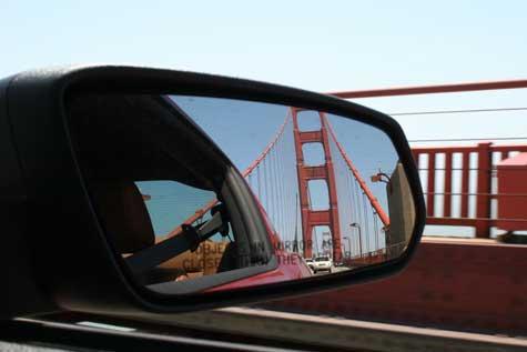 bridge in rearview mirror