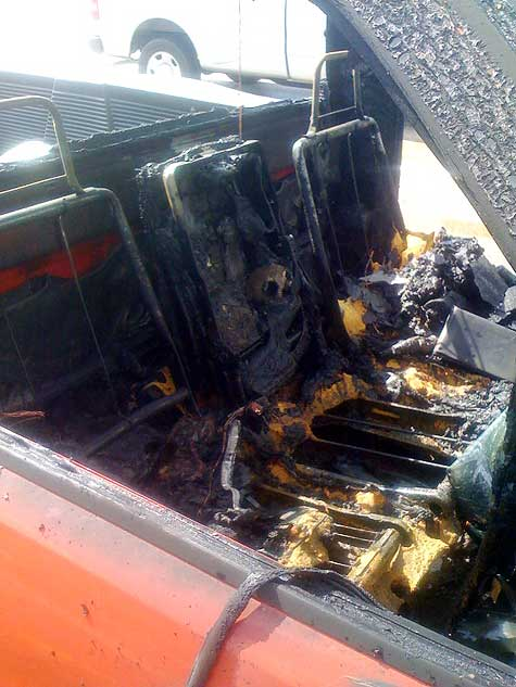 burned dodge ram truck