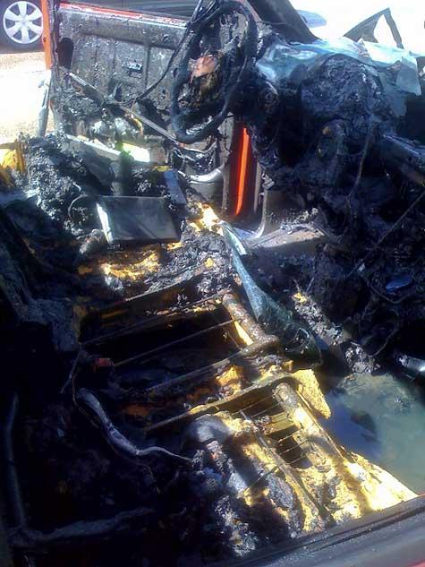 fire damage inside of truck