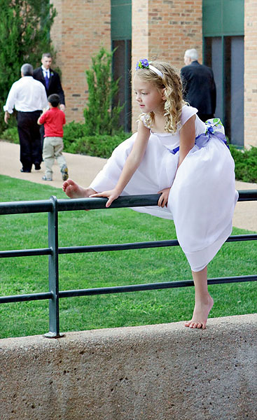 flower girl climbing wall