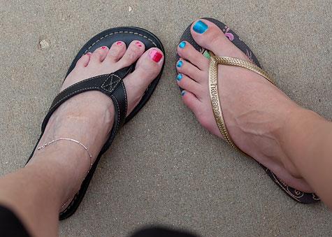 red and blue nail polish