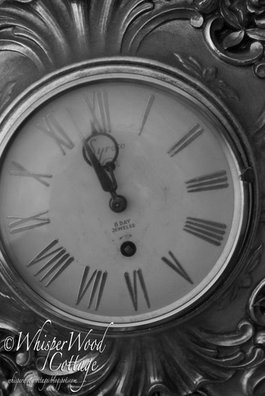 black and white clock face