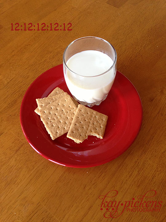 cookies and milk at 12:12:12 at 12:12
