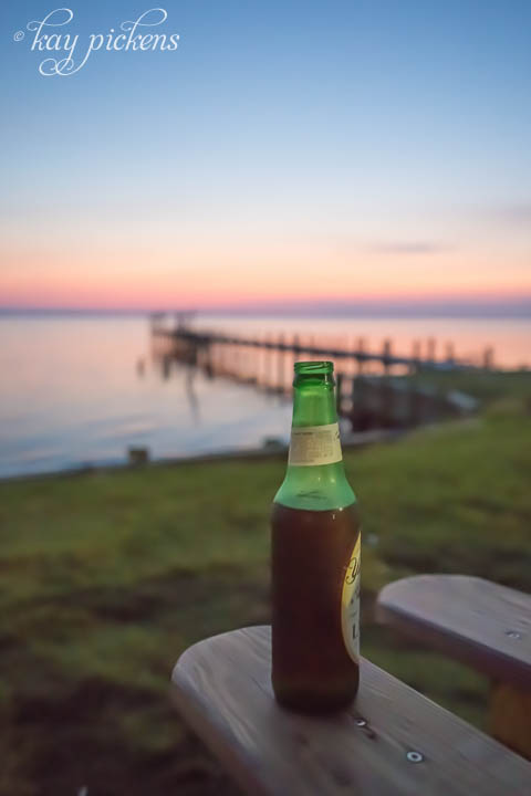 Beer at dusk at Duck North Carolina in the Outer Banks
