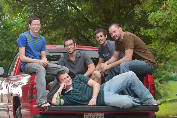 old boys on truck photo