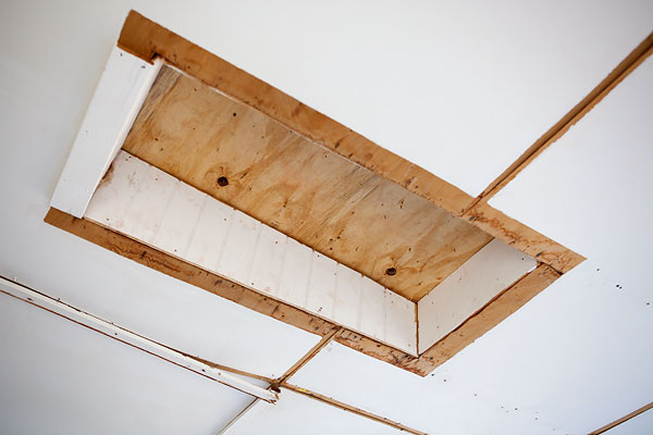 boarded up skylight