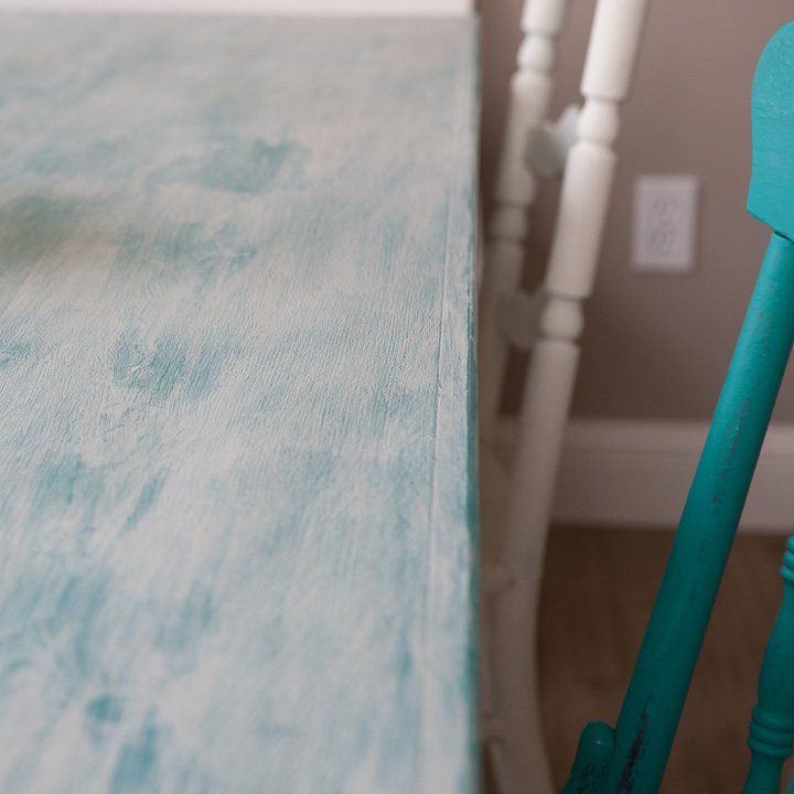 close up chalk paint table and chairs
