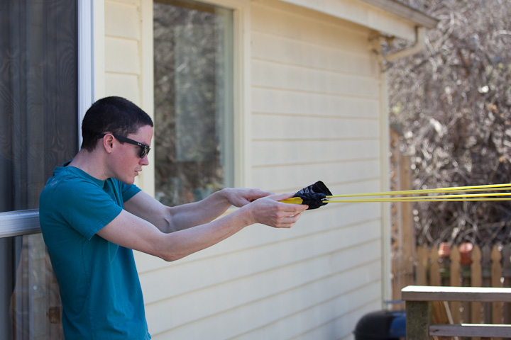 shooting easter egg with slingshot