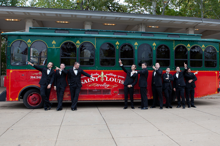trolley in Forest Park wedding photo