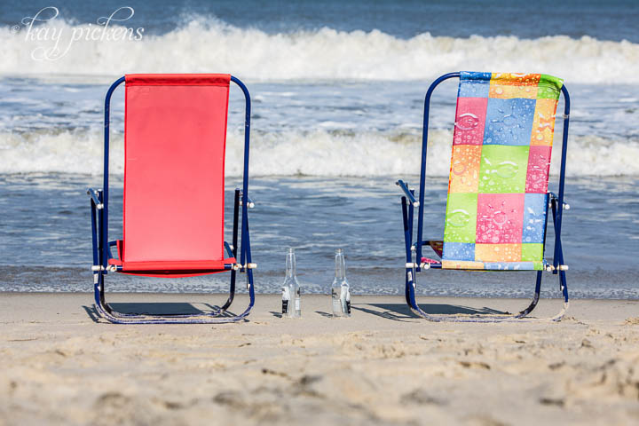 beach chairs on beach in outer banks north carolina