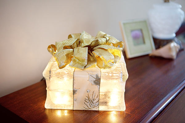 lighted glass block present