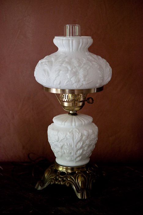New milk glass lamp with roses