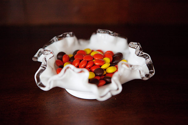 reeses pieces in candy dish
