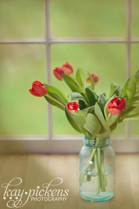 tulips on mason jar