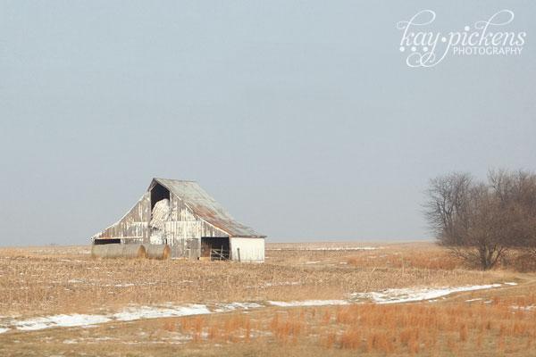 farm in winter landscape