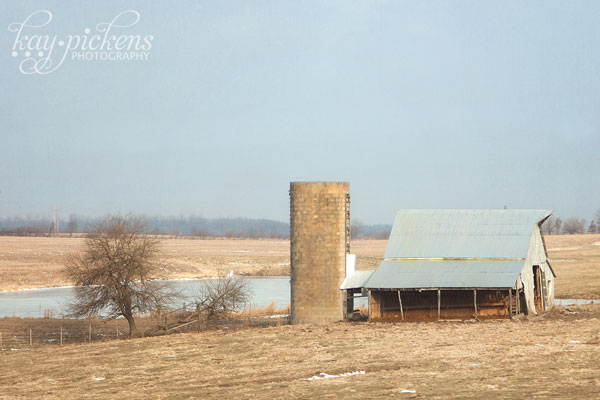 barn and silo in the winter