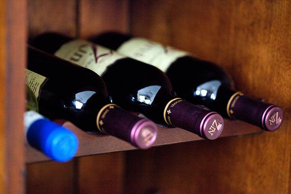 wine holder in wooden bar